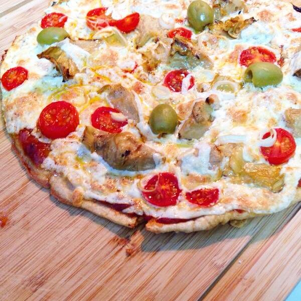 Pizza Funcional de farinha de aveia com claras