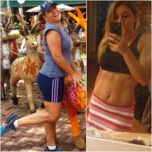 Antes ( Jan. de 2014 ( entre o natal e o ano novo em Campos do Jordão) - Depois: Em setembro de 2014 com a saia shorts da Sol e Só! Me achando risos